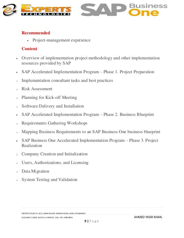 Sap business one 88 course outline expert 9 malvernweather Image collections