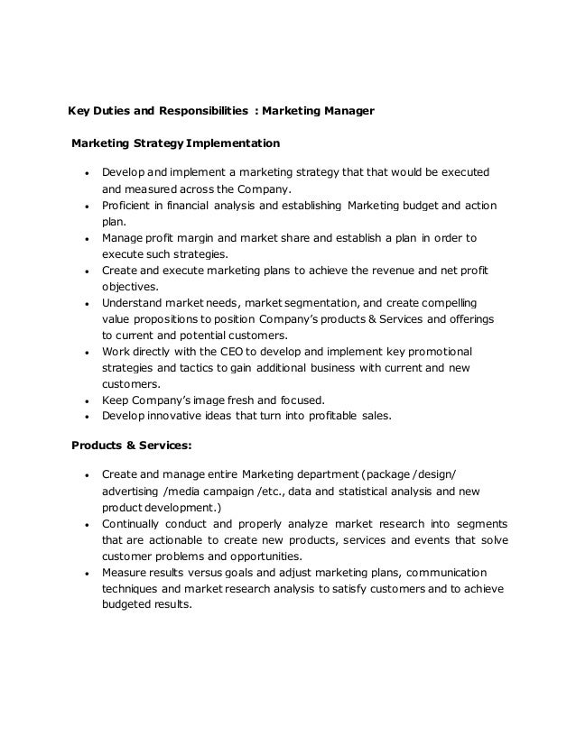 Marketing Manager Job Role Description  Best Market