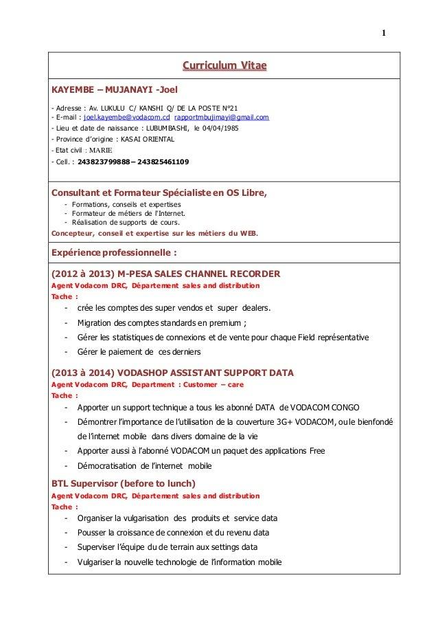 1 2 Curriculum Vitae KAYEMBE – MUJANAYI -Joel - Adresse : Av. LUKULU C/ KANSHI Q/ DE LA POSTE N°21 - E-mail : joel.kayembe...