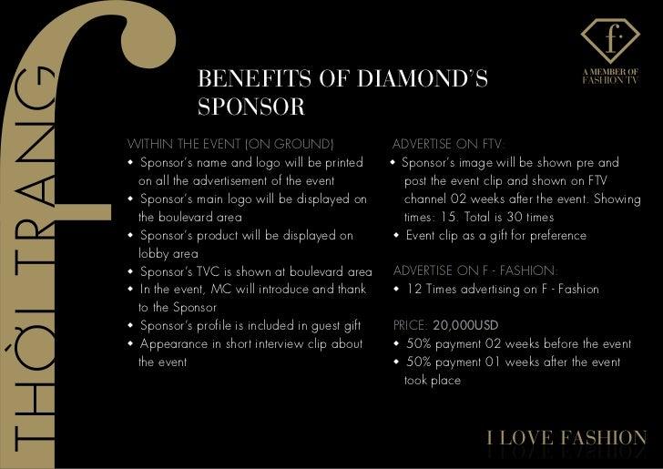 BenefITs of DIaMonD's             sPonsoRWITHIN THE EVENT (ON GROUND)                     ADVERTISE ON FTV:w Sponsor's nam...