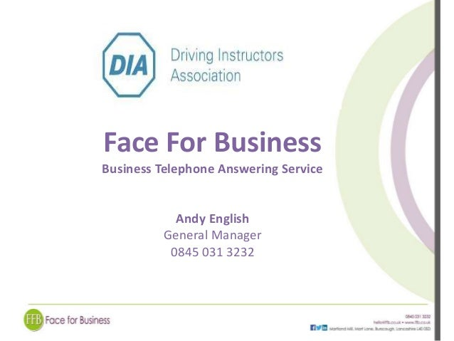 Face For Business  Business Telephone Answering Service  Andy English  General Manager  0845 031 3232