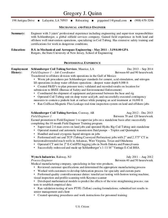 gregory j quinn 198 antigua drive lafayette la 70503 relocating grgquinn11 - Schluberger Field Engineer Sample Resume