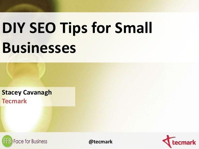 DIY SEO Tips for Small Businesses Stacey Cavanagh Tecmark @tecmark