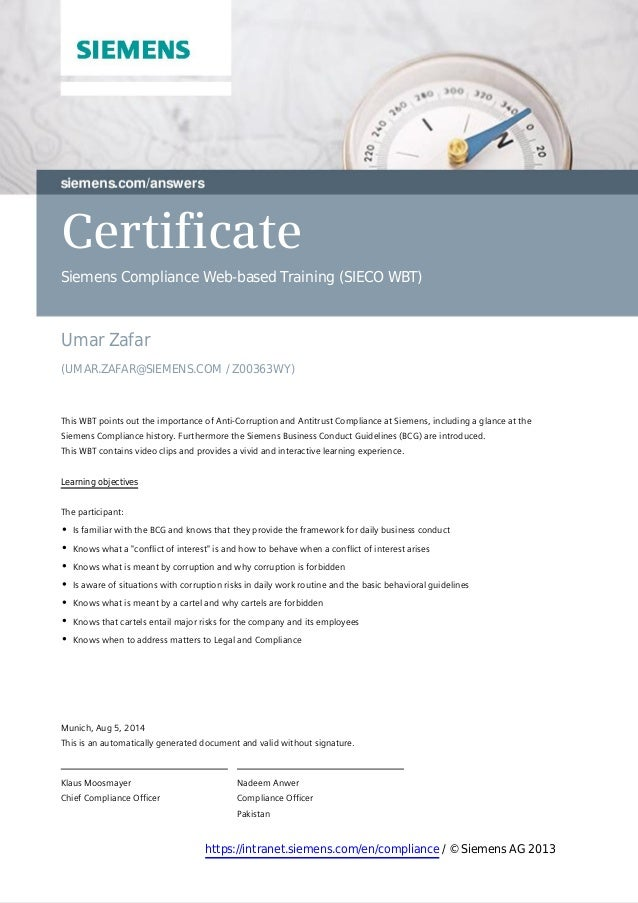 Certificate Siemens Compliance Web-based Training (SIECO WBT) Umar Zafar (UMAR.ZAFAR@SIEMENS.COM / Z00363WY)  ThisWBTpo...