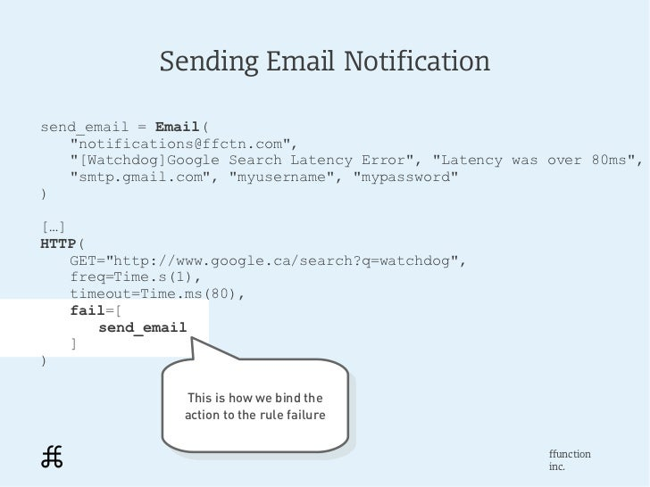 """Sending Email Notificationsend_email = Email(   """"notifications@ffctn.com"""",   """"[Watchdog]Google Search Latency Error"""", """"Lat..."""