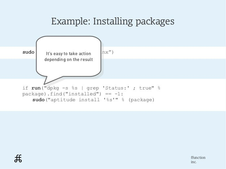 """Example: Installing packagessudo(""""aptitude install nginx"""")        Its easy to take action         Its easy to take action ..."""