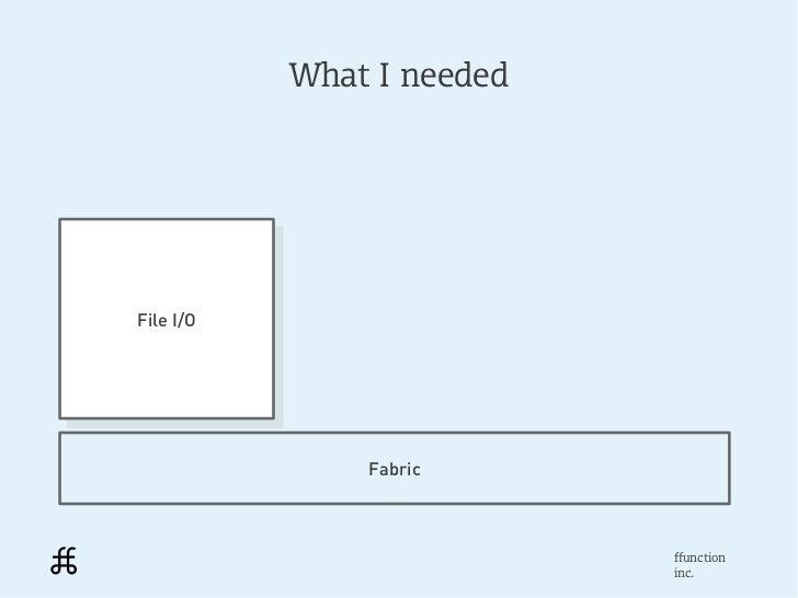 What I neededFile I/O File I/O                Fabric                            ffunction                            inc.