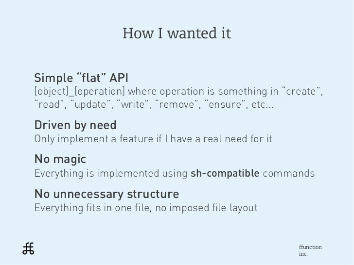 """How I wanted itSimple """"flat"""" API[object]_[operation] where operation is something in """"create"""",""""read"""", """"update"""", """"write"""", """"..."""