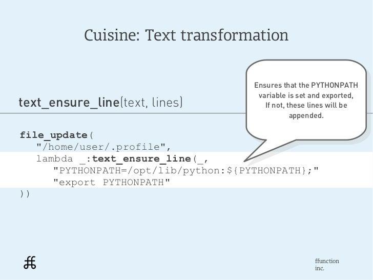 Cuisine: Text transformation                                      Ensures that the PYTHONPATH                             ...