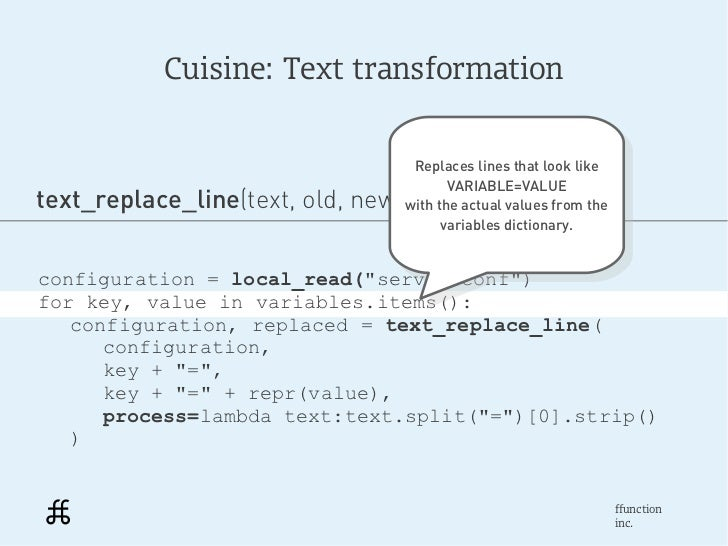 Cuisine: Text transformation                                   Replaces lines that look like                              ...