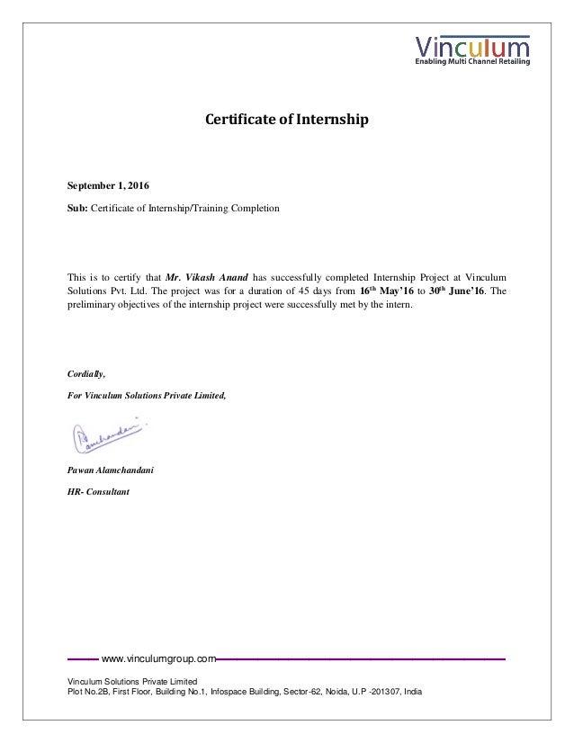 Internship Completion Certificate Vikash Anand 1