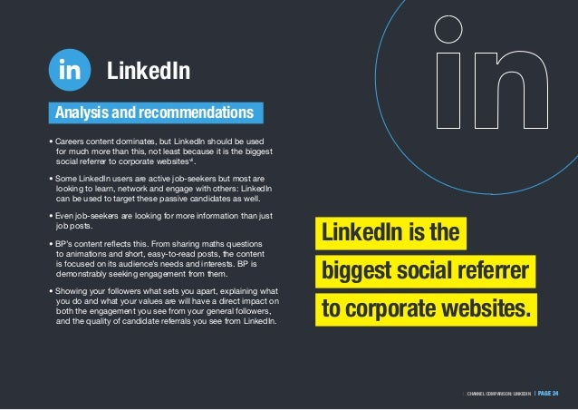   PAGE 241.2. WHY THE REVIEW IS IMPORTANT   PAGE 24CHANNEL COMPARISON: LINKEDIN LinkedIn • Careers content dominates, but ...