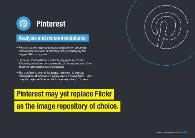 Pinterest   PAGE 52CHANNEL COMPARISON: PINTEREST • Pinterest is the least used social platform for corporate communication...