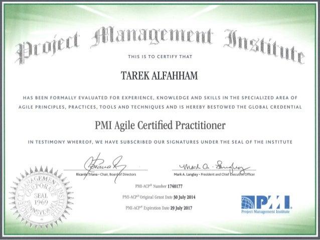 Tarek PMI-ACP Certification - Sep 2014