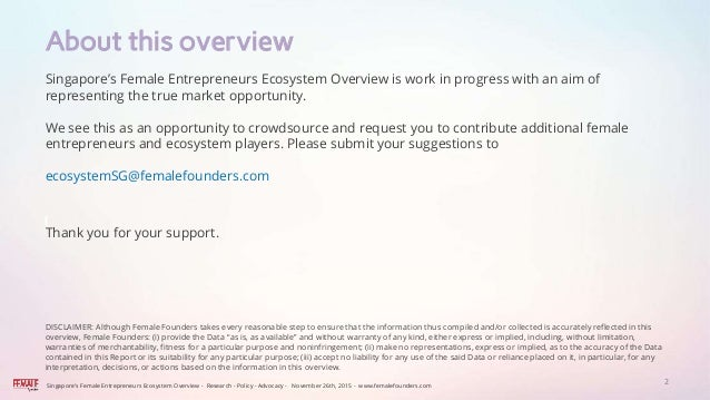 The Female Founders Singapore Startup Ecosystem Overview.  Slide 2