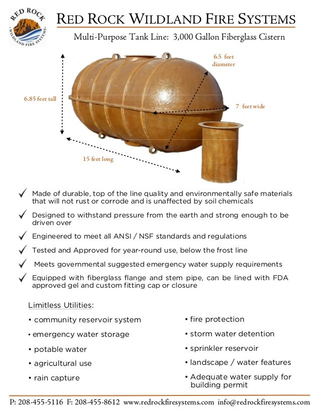 RED ROCK WILDLAND FIRE SYSTEMS Multi-Purpose Tank Line: 3,000 Gallon Fiberglass Cistern P: 208-455-5116 F: 208-455-8612 ww...