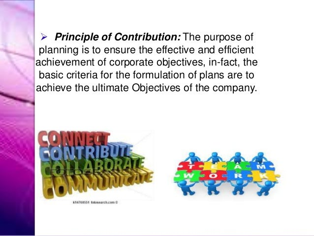  Principle of Contribution: The purpose of planning is to ensure the effective and efficient achievement of corporate obj...