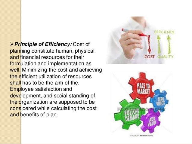 Principle of Efficiency: Cost of planning constitute human, physical and financial resources for their formulation and im...