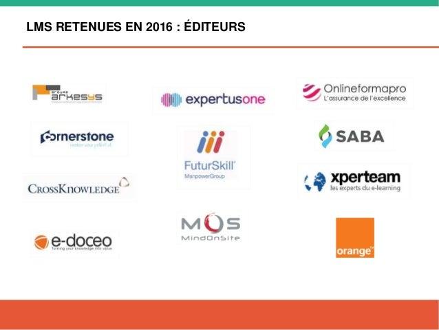 LMS RETENUES EN 2016 : ÉDITEURS