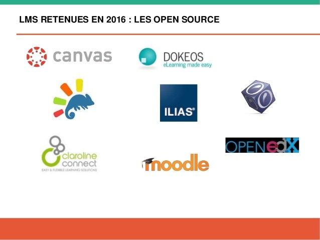 LMS RETENUES EN 2016 : LES OPEN SOURCE