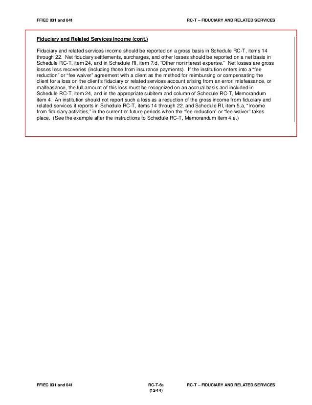 Ffiec Call Report Instructions Update 12 31 14 Bank Trust Departmen