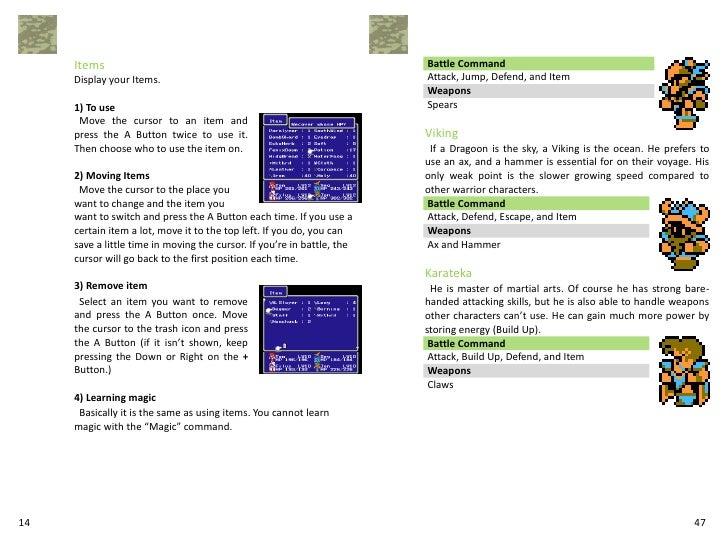 Final Fantasy Iii Manual 101
