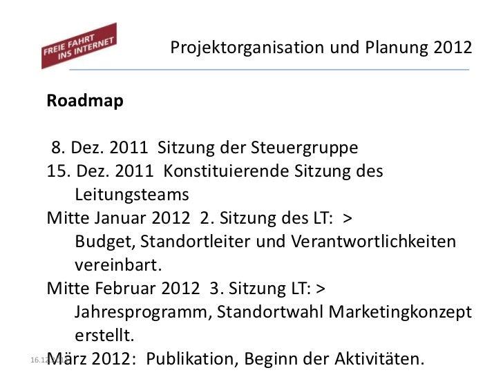 Projektorganisation und Planung 2012  Roadmap      8. Dez. 2011 Sitzung der Steuergruppe    15. Dez. 2011 Konstituierende ...