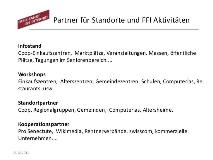 Partner für Standorte und FFI Aktivitäten   Infostand   Coop-Einkaufszentren, Marktplätze, Veranstaltungen, Messen, öffent...