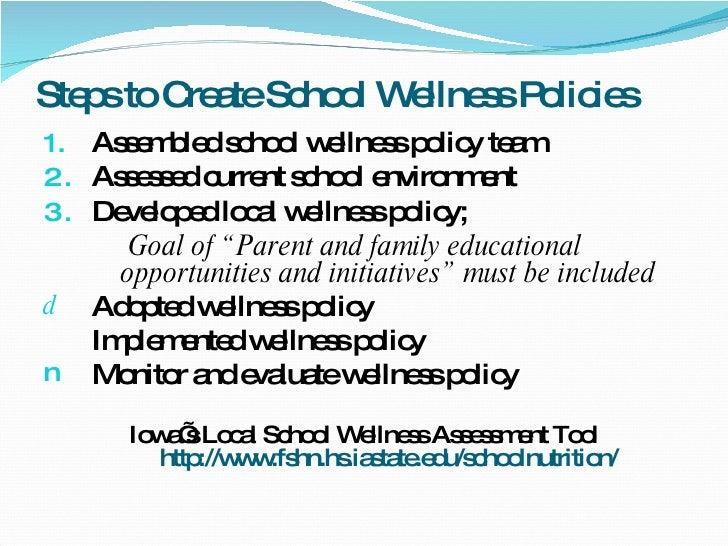 Steps to Create School Wellness Policies <ul><li>Assembled school wellness policy team </li></ul><ul><li>Assessed current ...