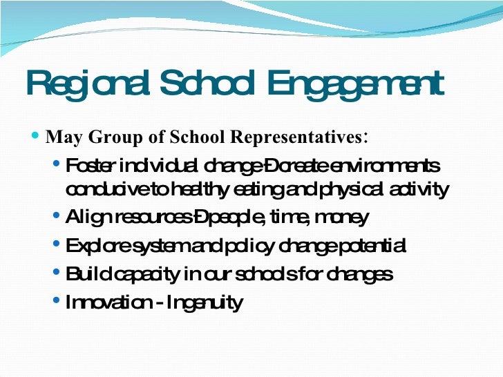 Regional School Engagement <ul><li>May Group of School Representatives: </li></ul><ul><ul><li>Foster individual change – c...