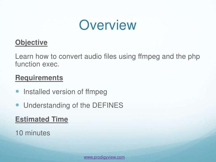 FFMPEG PHP Audio Conversion Basics