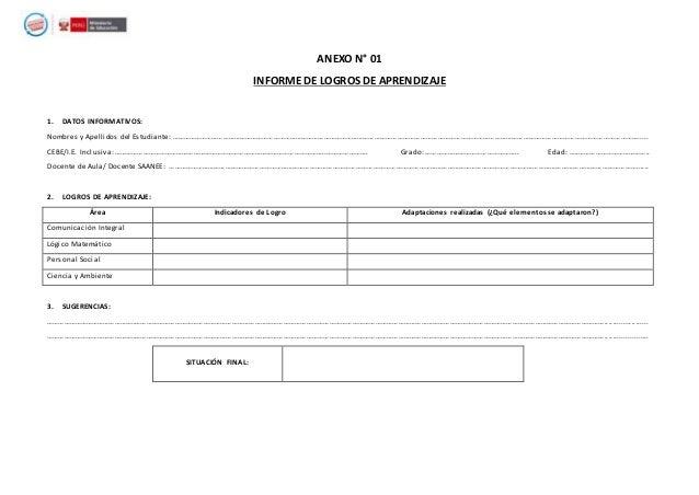 ANEXO N° 01 INFORME DE LOGROS DE APRENDIZAJE 1. DATOS INFORMATIVOS: Nombres y Apellidos del Estudiante: ………………………………………………...