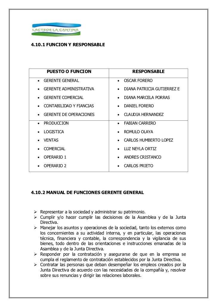 4.10.3 MANUAL DE FUNCIONES GERENTE DE OPERACIONES    Cumplir con las políticas y funciones establecidas por la gerencia de...