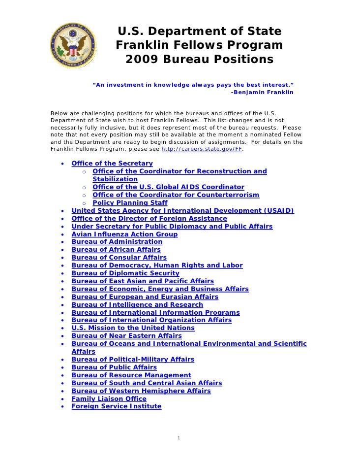 U.S. Department of State                       Franklin Fellows Program                        2009 Bureau Positions      ...