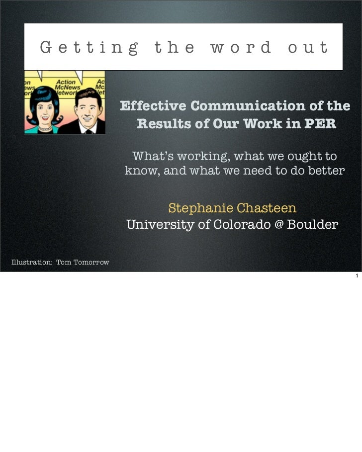 Getting the word out                             Effective Communication of the                               Results of O...