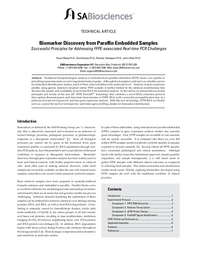 SABiosciences  TM  TECHNICAL ARTICLE  Biomarker Discovery from Paraffin Embedded Samples  Successful Principles for Addres...