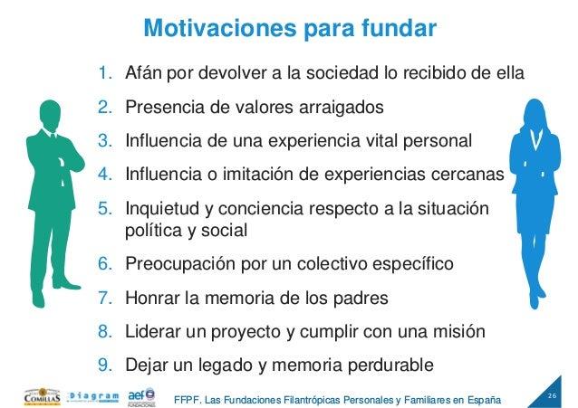 26 FFPF. Las Fundaciones Filantrópicas Personales y Familiares en España 1. Afán por devolver a la sociedad lo recibido de...