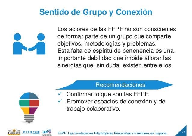 30 FFPF. Las Fundaciones Filantrópicas Personales y Familiares en España Sentido de Grupo y Conexión Los actores de las FF...