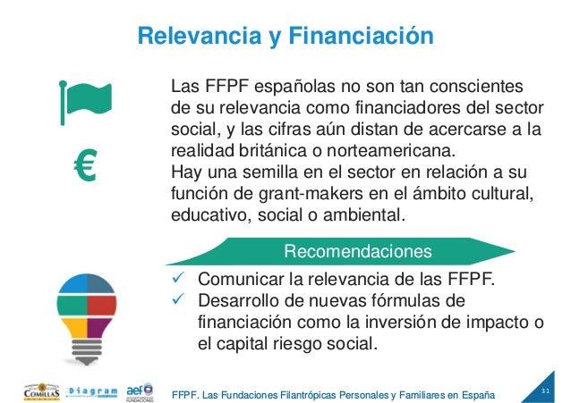 31 FFPF. Las Fundaciones Filantrópicas Personales y Familiares en España Relevancia y Financiación Las FFPF españolas no s...