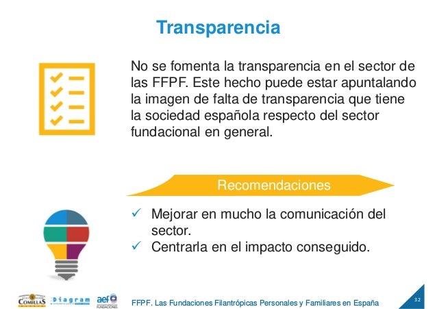 32 FFPF. Las Fundaciones Filantrópicas Personales y Familiares en España Transparencia No se fomenta la transparencia en e...
