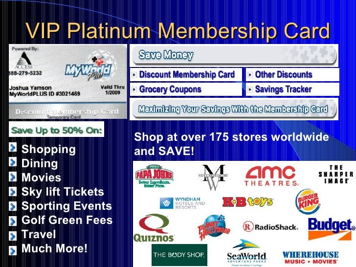 VIP Platinum Membership Card Shopping Dining Movies Sky lift Tickets Sporting Events Golf Green Fees Travel Much More! Sho...