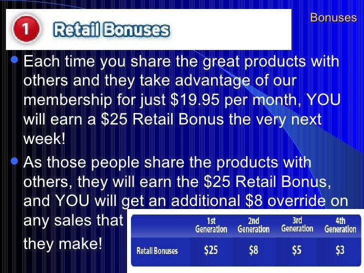 Bonuses <ul><li>Each time you share the great products with others and they take advantage of our membership for just $19....