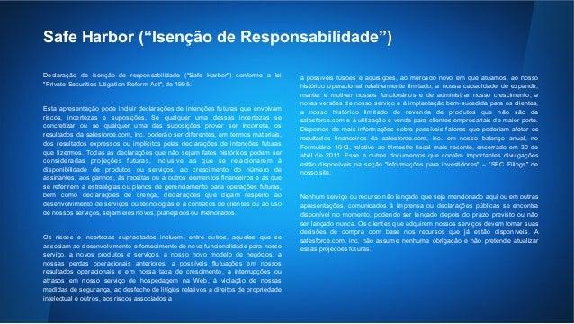"""Safe Harbor (""""Isenção de Responsabilidade"""")  Declaração de isenção de responsabilidade (""""Safe Harbor"""") conforme a lei  """"Pr..."""