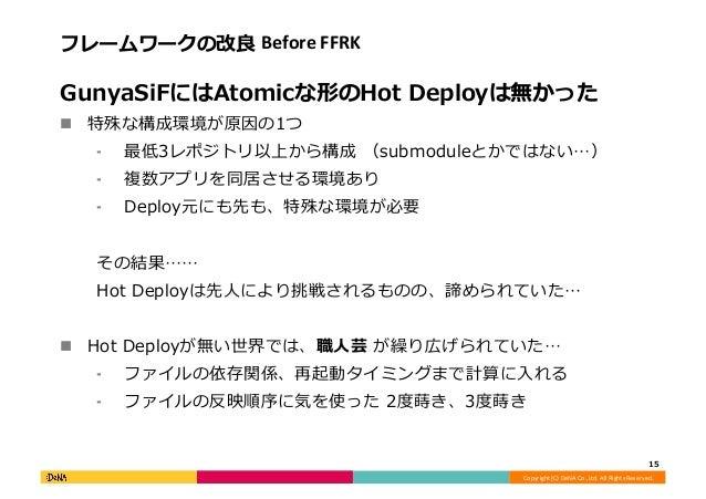 Copyright  (C)  DeNA  Co.,Ltd.  All  Rights  Reserved.   フレームワークの改良良  Before  FFRK   GunyaSiFにはAtomicな...