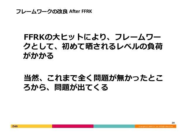 Copyright  (C)  DeNA  Co.,Ltd.  All  Rights  Reserved.   フレームワークの改良良  AAer  FFRK    FFRKの⼤大ヒットにより、フレー...