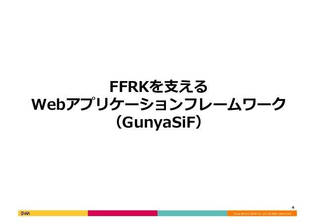 Copyright  (C)  DeNA  Co.,Ltd.  All  Rights  Reserved.   FFRKを⽀支える Webアプリケーションフレームワーク (GunyaSiF)   4