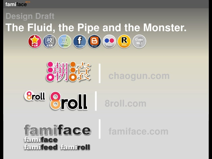 Design Draft<br />The Fluid, the Pipe and the Monster.<br />?<br />ClassMe !<br />开心网<br />R<br />潮滾 chaogun.com<br />Blog...