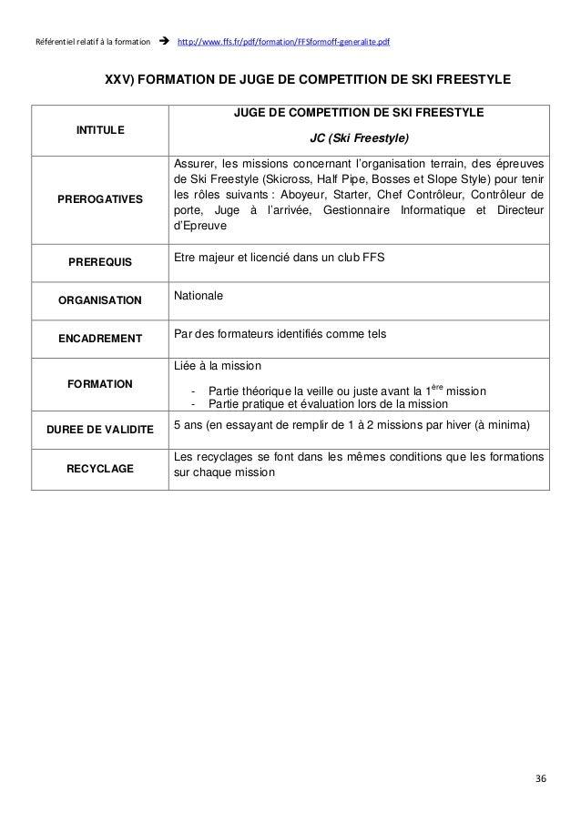 Référentiel relatif à la formation  http://www.ffs.fr/pdf/formation/FFSformoff-generalite.pdf  36  XXV) FORMATION DE JUGE ...