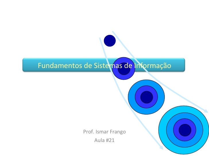 Prof. Ismar Frango Aula #21 Fundamentos de Sistemas de Informação