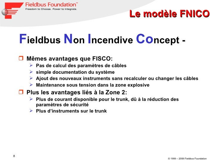 Le modèle FNICO F ieldbus  N on  I ncendive  Co ncept - <ul><li>Mêmes avantages que FISCO: </li></ul><ul><ul><li>Pas de ca...